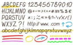 Ręcznie pisany Highlighter abecadło Zdjęcia Stock