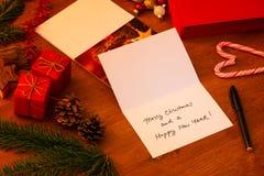 Ręcznie pisany kartka bożonarodzeniowa zdjęcia royalty free