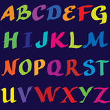 Ręcznie pisany kolorystyki abecadło Fotografia Royalty Free