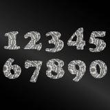 Ręcznie pisany liczba 2019 deseniująca z gmatwaniną kształtuje dla dekoruje kalendarz royalty ilustracja