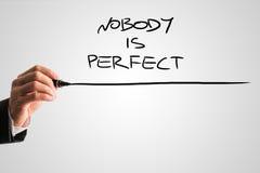 Ręcznie pisany Nikt jest Perfect z podkreśleniem zdjęcie royalty free