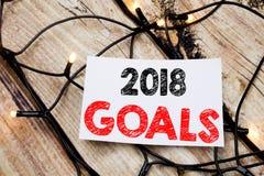 Ręcznie pisany teksta podpis pokazuje 2018 celów Biznesowy pojęcia writing dla pieniężnego planowania, strategia biznesowa pisać  Obrazy Royalty Free