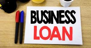 Ręcznie pisany teksta podpisu seansu Biznesowa pożyczka Biznesowy pojęcia writing dla Pożyczać finanse kredyt pisać na kleistej n zdjęcia stock