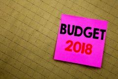 Ręcznie pisany teksta podpisu seansu budżet 2018 Biznesowy pojęcia writing dla gospodarstwa domowego budżetuje księgowości planow Fotografia Stock