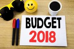 Ręcznie pisany teksta podpisu seansu budżet 2018 Biznesowy pojęcia writing dla gospodarstwa domowego budżetuje księgowości planow Obraz Royalty Free
