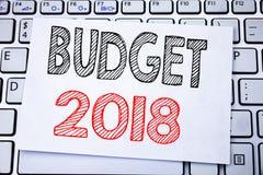 Ręcznie pisany teksta podpisu seansu budżet 2018 Biznesowy pojęcia writing dla gospodarstwa domowego budżetuje księgowości planow Fotografia Royalty Free