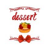Ręcznie pisany WEKTOROWA winieta: ` tortów wyśmienicie ` z ręka rysującym tortem Fotografia Stock