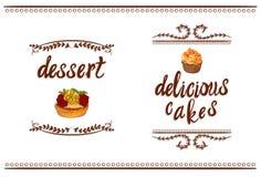 Ręcznie pisany WEKTOROWE winiety: ` ` i ` tortów deserowy wyśmienicie ` z ręką rysującą zasycha Zdjęcie Stock
