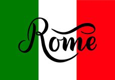 Ręcznie pisany wpisowy Rzym i kolory flaga państowowa Włochy na tle Ręka rysujący literowanie kaligraficzny royalty ilustracja