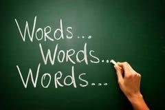 Ręcznie pisany z kredą na blackboard - słowa Obraz Royalty Free