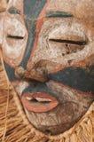 Ręcznie robiony afrykanin maska z arkanami symuluje włosy Twarz ludzka Ja Obraz Royalty Free