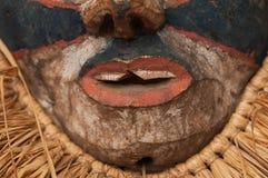 Ręcznie robiony afrykanin maska z arkanami symuluje włosy Twarz ludzka Ja Fotografia Royalty Free