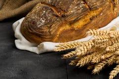 Ręcznie robiony chlebowy bochenek z pszenicznymi ucho Obraz Stock