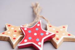 Ręcznie robiony gwiazdowe kształt choinki dekoracje Obrazy Stock