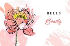 Ręcznie robiony wektorowa wiosna abstrakcjonistyczny kreatywnie textured kolaż z peonia kwiatem, freehand teksturami i typografią royalty ilustracja