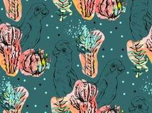 Ręcznie robiony wektorowy abstrakcjonistyczny kolaż bezszwowy wzór z tropikalnymi papugami, kaktus roślinami i sukulentem, kwitni ilustracja wektor