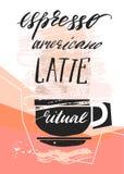 Ręcznie robiony wektorowy abstrakt textured ilustracja filiżanka i ręcznie pisany kaligrafia przeprowadzamy etapami kawę espresso royalty ilustracja
