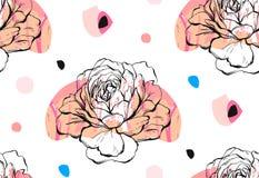Ręcznie robiony wektorowy abstrakt textured modnego kreatywnie ogólnoludzkiego kolaż bezszwowy wzór z kwiecistym peonia motywem ilustracja wektor