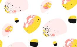 Ręcznie robiony wektorowy abstrakt textured ogólnoludzkiego modnego kreatywnie kolaż bezszwowy wzór na białym tle z royalty ilustracja