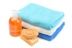 Ręcznik, mydło, szampon Fotografia Stock