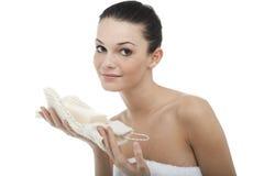 ręcznikowa kobieta zawijający potomstwa obraz stock