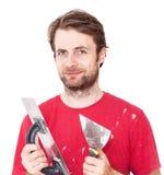 Ręczny pracownik z ściennymi gipsowań narzędziami odizolowywającymi na bielu zdjęcia royalty free
