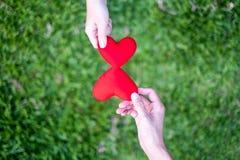 Ręk kobiety wysyłają czerwony kierowego i ręka mężczyźni wysyłają czerwonego serce dla Wekslowych serc, Dwoisty serce, trawy tło fotografia stock