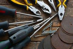 Ręk narzędzia i pracy ławki tło Obrazy Stock