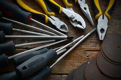 Ręk narzędzia i pracy ławki tło Fotografia Royalty Free