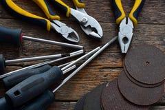 Ręk narzędzia i pracy ławki tło Obrazy Royalty Free