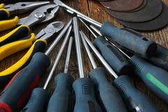 Ręk narzędzia i pracy ławki tło Obraz Royalty Free
