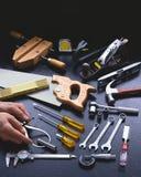 Ręk narzędzia z rękami i kopii przestrzeń przy wierzchołkiem Obraz Stock