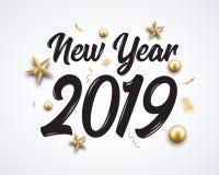 2019 ręk pisać nowy rok Pisać list złotych boże narodzenia gra główna rolę i piłki projektują tło Nowa 2019 rok liczby dekoracja ilustracji
