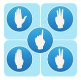 Ręk pozy w round ikonach liczy jeden, pięć od Zdjęcia Royalty Free