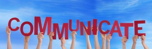 Ręk Trzymać Komunikuje w niebie Zdjęcie Stock