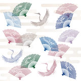 Ręka żurawia i fan Japoński tradycyjny wzór Zdjęcia Stock