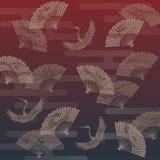 Ręka żurawia i fan Japoński tradycyjny wzór Obraz Royalty Free