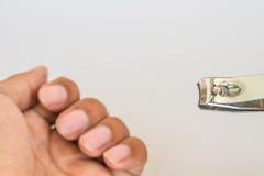 Ręka cążków biel odizolowywający Fotografia Stock