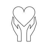 Ręka chwytów miłości opieki kierowy kontur Fotografia Stock