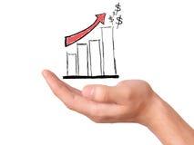 Ręka chwyt rysuje biznesowego wykres reprezentować biznesowego przyrosta Zdjęcie Royalty Free
