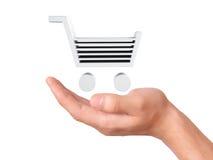 Ręka chwyt wózek na zakupy Obraz Royalty Free