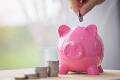Ręka chwyta moneta i oszczędzanie pieniądze w różowym prosiątko banku Zdjęcia Stock