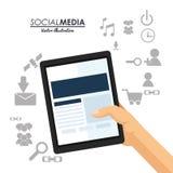 Ręka chwyta pastylki ogólnospołeczna medialna komunikacja ilustracja wektor