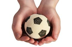Ręka chwyta piłki nożnej piłka obrazy royalty free