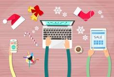 Ręka chwyta przyrządu elektronika gadżetu nowy rok Obraz Stock