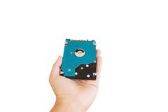 Ręka daje lub przedstawiający harddisk przejażdżki narzędzia dla komputeru lub zdjęcia stock