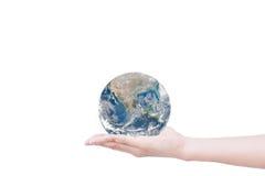 Ręka daje ziemi uratować ziemię Elementy ten wizerunku fu Zdjęcie Stock