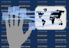 Ręka dotyka ekran pokazuje rozwój biznesy ilustracji