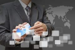 Ręka dotyka ikony telefon komórkowy Obrazy Stock