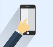 Ręka dotyka mądrze telefon Obraz Stock